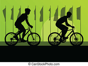 Sport road bike riders and bicycles detailed silhouettes in front of flags for poster