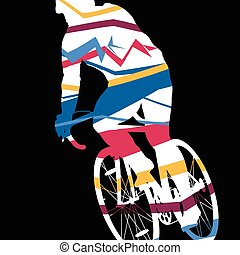 Sport road bike riders bicycle silhouette in abstract mosaic background illustration