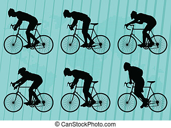 Sport road bike riders bicycle silhouettes background vector...