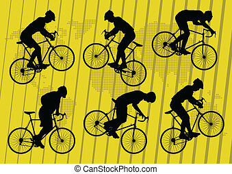 Sport road bike riders bicycle silhouettes background vector