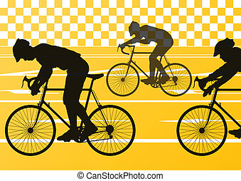 Sport road bike riders bicycle silhouettes vector