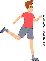 Sport rollerblading icon, cartoon style