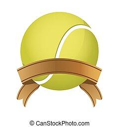 sport, ruban, équipement, boule tennis, cadre