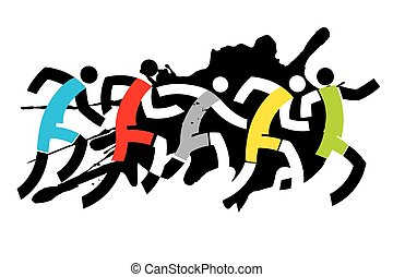 Sport Runners - Grunge stylized drawing of runner race....