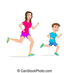 sport running or jogging mom and son vector isolated ...