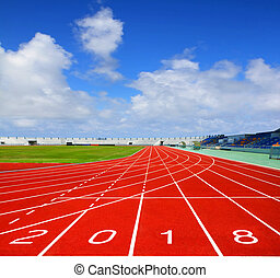 Sport running track with blue sky business concept 2018
