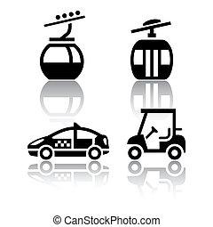 sport, sätta, -, transport, ikonen