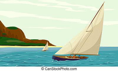 Sport sail yacht against island. - Vector illustration of...