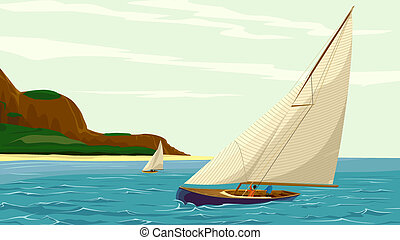 Sport sail yacht against island. - Vector illustration of...