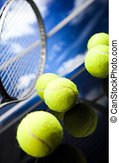 sport, schläger, tenniskugeln