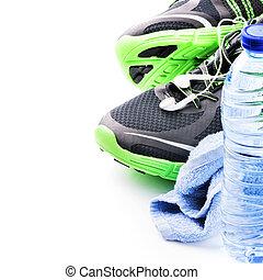 sport schoenen, en, water, bottle., fitness, concept