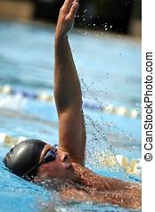 sport, -, schwimmender