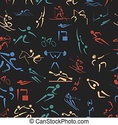 Sport seamless pattern. Flat style.