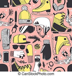 Sport seamless pattern with racing skates and Snowboard things. Hand drawn fashion illustration. Creative ink art work. Actual Winter cozy vector background Ice Skating and Snowboarding