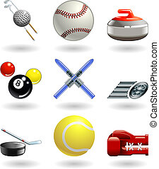 sport, serie, set, baluginante, icona