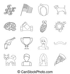 sport, service, country and other web icon in outline style. animals, weather, medicine icons in set collection.