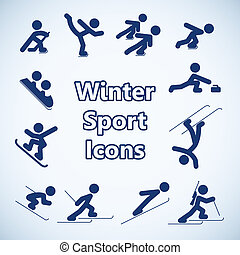 sport, set, inverno, icone