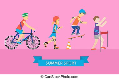 Sport Set of Man and Woman Going in for Sport - Sport set of...