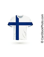 Sport shirt in colors of Finland flag.