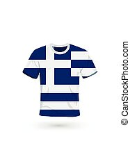 Sport shirt in colors of Greece flag.