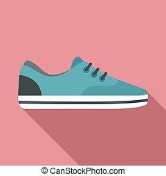 Sport shoe icon, flat style