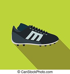 Sport shoe with cleats flat icon on a green background