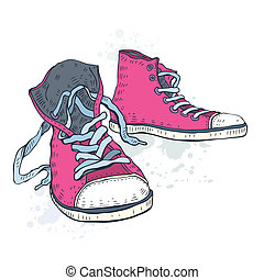 Sport shoes. Sneakers. Hand drawn Vector illustration.
