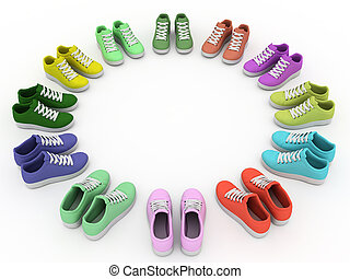 The sports footwear costs on a circle on white background