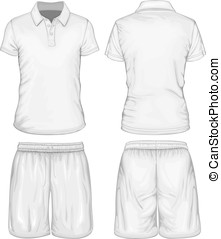 sport, short, hommes, polo-shirt