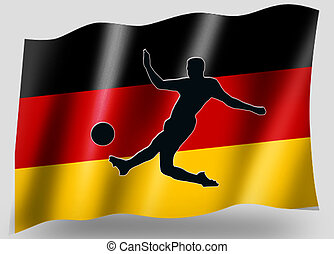 Sport,  silhouette, Allemand, pays, drapeau, football, icône