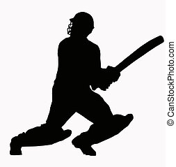 Sport Silhouette - Cricket Batsman hitting ball