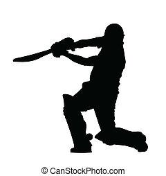 Sport Silhouette - Cricket Batsman Hitting Ground Stroke...