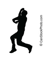 Sport Silhouette - Cricket Spin Bowler Jumping into Air