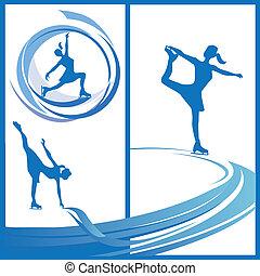 sport, silhouette, donna, -, pattinatore