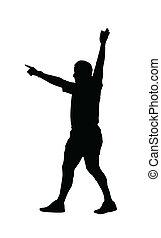 sport, silhouette, -, rugby, arbitre football, indiquer, poulain, jeu