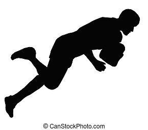 Sport Silhouette - Rugby Dive for Try Line - Sport...