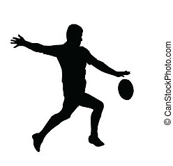 sport, silhouette, -, rugby, football, courant, donner coup pied, pour, toucher