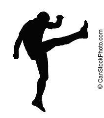 sport, silhouette, -, rugby, football, haut, et, sous, kicker