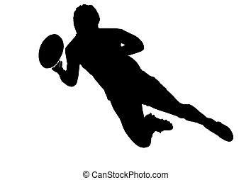 sport, silhouette, -, rugby, football, scrumhalf, dépassement, balle