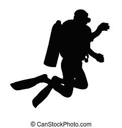 Sport Silhouette ? Scuba Diver Taking Under Water Picture -...
