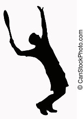 Sport Silhouette - Tennis Player Serving - Ball in air
