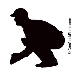 Sport Silhouette - Wicket-Keeper Crouching isolated black...