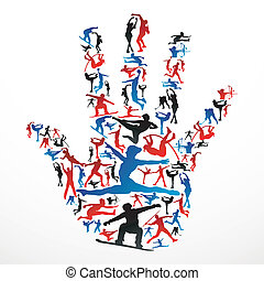 sport, silhouetten, hand
