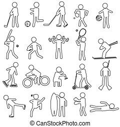sport silhouettes black simple outline icons set eps10