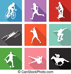 sport silhouettes on flat icons for web or mobile applications