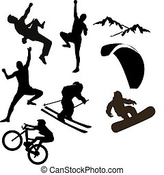 Various vector icons of mountain sports