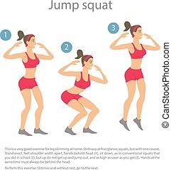 sport, silhouettes., workout, m�dchen
