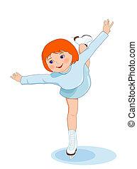 sport., skating., 氷, 女性, 数字, 冬, show.