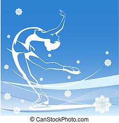 sport., skating., ghiaccio, signore, figura, inverno, show.