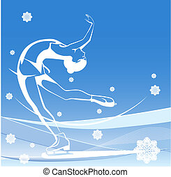sport., skating., glace, dames, figure, hiver, show.